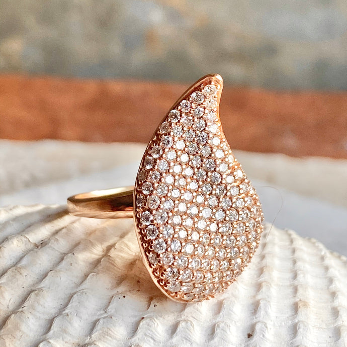 Estate 14KT Rose Gold Pave Diamond Swirl Statement Ring, Estate 14KT Rose Gold Pave Diamond Swirl Statement Ring - Legacy Saint Jewelry