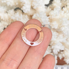 "Load image into Gallery viewer, 14KT Rose Gold Open Circle Script ""Faith Hope Love"" Pendant, 14KT Rose Gold Open Circle Script ""Faith Hope Love"" Pendant - Legacy Saint Jewelry"