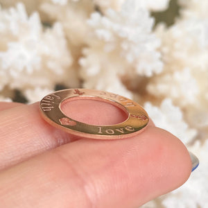 "14KT Rose Gold Open Circle Script ""Faith Hope Love"" Pendant, 14KT Rose Gold Open Circle Script ""Faith Hope Love"" Pendant - Legacy Saint Jewelry"