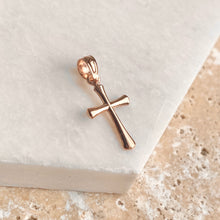 Load image into Gallery viewer, 14KT Rose Gold Beveled Cross Pendant Charm, 14KT Rose Gold Beveled Cross Pendant Charm - Legacy Saint Jewelry