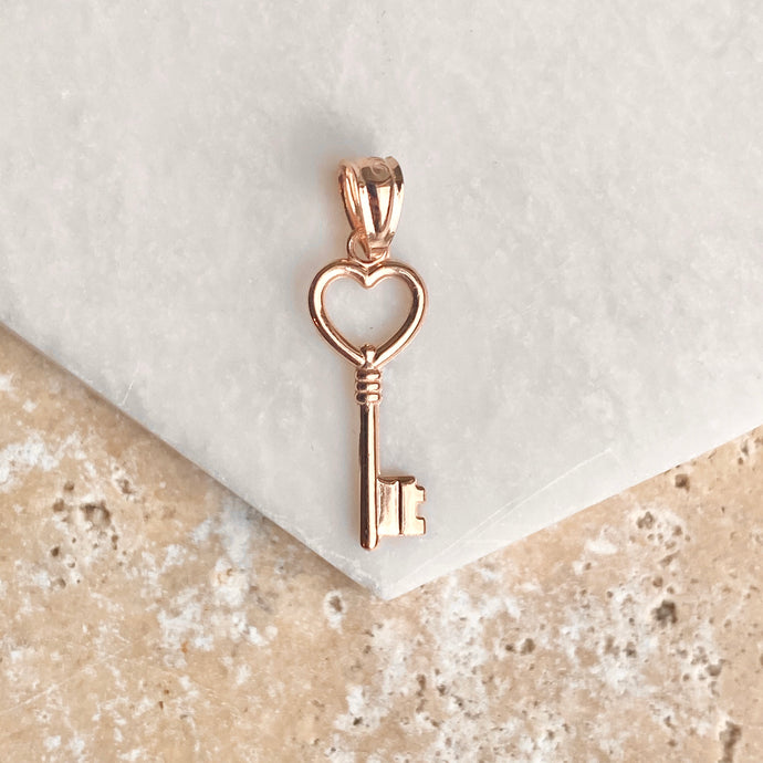 OOO 14KT Rose Gold Small Key Heart Pendant Charm, OOO 14KT Rose Gold Small Key Heart Pendant Charm - Legacy Saint Jewelry