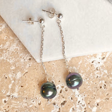 Load image into Gallery viewer, Sterling Silver Black Freshwater Cultured Pearl Dangle Earrings, Sterling Silver Black Freshwater Cultured Pearl Dangle Earrings - Legacy Saint Jewelry