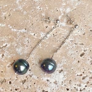 Sterling Silver Black Freshwater Cultured Pearl Dangle Earrings, Sterling Silver Black Freshwater Cultured Pearl Dangle Earrings - Legacy Saint Jewelry