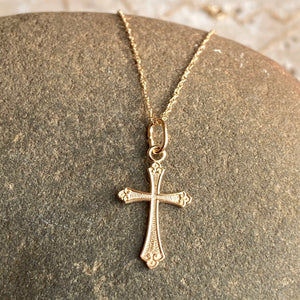 14KT Yellow Gold Textured Small Cross Pendant Chain Necklace, 14KT Yellow Gold Textured Small Cross Pendant Chain Necklace - Legacy Saint Jewelry