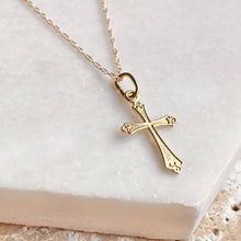 Load image into Gallery viewer, 14KT Yellow Gold Textured Small Cross Pendant Chain Necklace, 14KT Yellow Gold Textured Small Cross Pendant Chain Necklace - Legacy Saint Jewelry