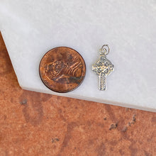 Load image into Gallery viewer, Sterling Silver Antiqued Celtic Eternity Circle Mini Cross Pendant 21mm