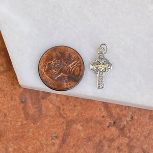 Sterling Silver Antiqued Celtic Eternity Circle Mini Cross Pendant 21mm