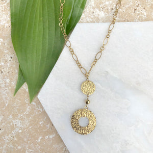 10KT Yellow Gold Hammered Circles Lariat Necklace, 10KT Yellow Gold Hammered Circles Lariat Necklace - Legacy Saint Jewelry