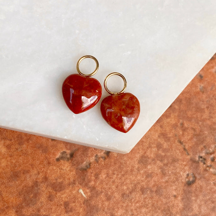 Estate 14KT Yellow Gold Red Carnelian Heart-Shape Mini Earring Charms