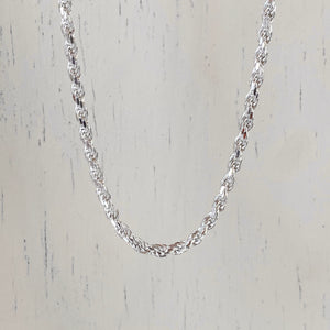 Sterling Silver Diamond-Cut Rope Chain Necklace 3mm, Sterling Silver Diamond-Cut Rope Chain Necklace 3mm - Legacy Saint Jewelry