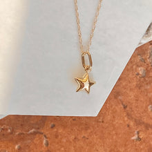 Load image into Gallery viewer, 14KT Yellow Gold Puffed Star Pendant Chain Necklace, 14KT Yellow Gold Puffed Star Pendant Chain Necklace - Legacy Saint Jewelry