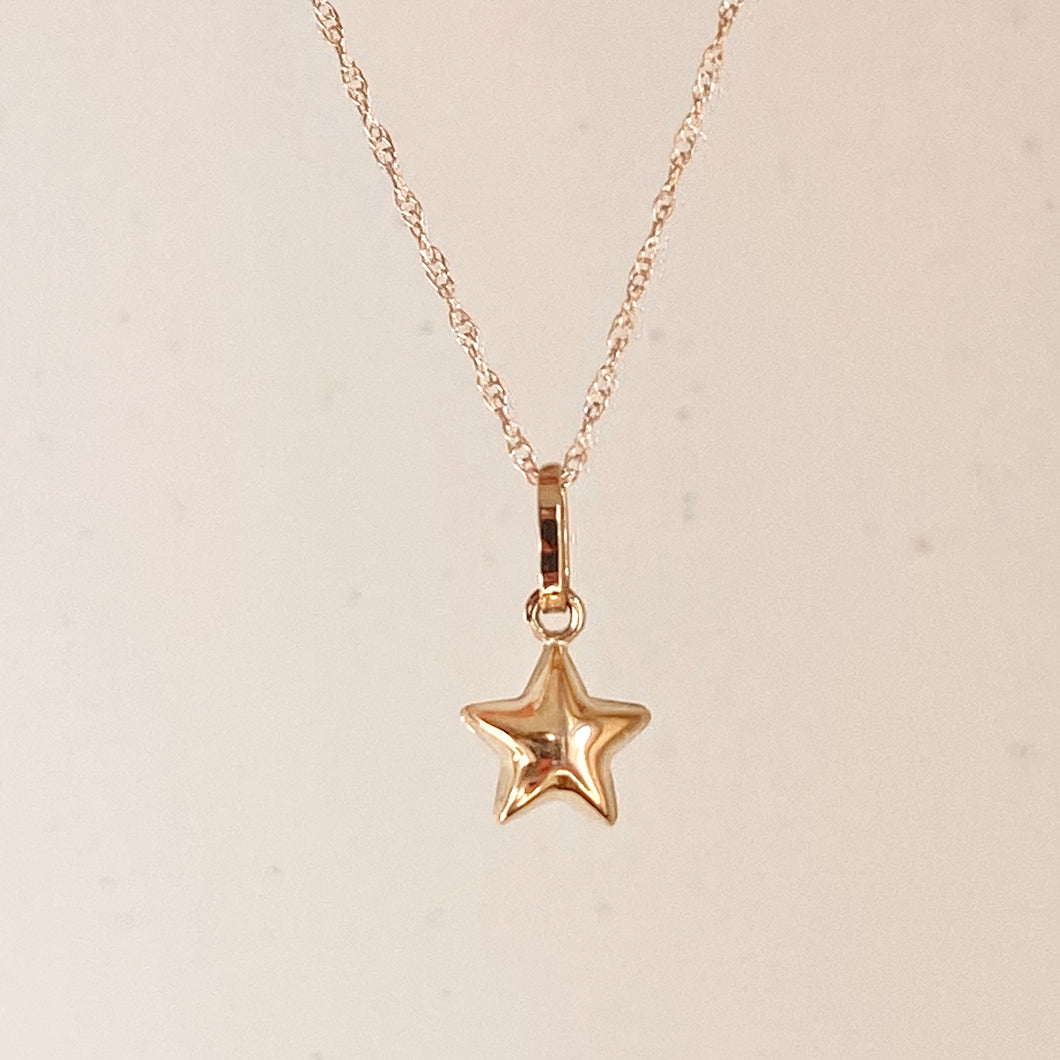 14KT Yellow Gold Puffed Star Pendant Chain Necklace, 14KT Yellow Gold Puffed Star Pendant Chain Necklace - Legacy Saint Jewelry