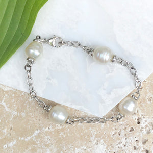 14KT White Gold Open Link Chain + Paspaley South Sea Pearl Bracelet, 14KT White Gold Open Link Chain + Paspaley South Sea Pearl Bracelet - Legacy Saint Jewelry