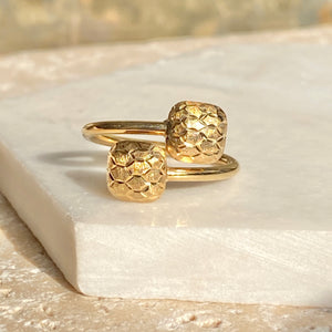 10KT Yellow Gold Bypass Ring With Puffed Hollow Squares, 10KT Yellow Gold Bypass Ring With Puffed Hollow Squares - Legacy Saint Jewelry