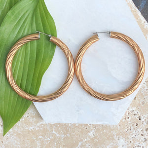 Rose Gold Immersed Stainless Steel Twist Hoop Earrings, Rose Gold Immersed Stainless Steel Twist Hoop Earrings - Legacy Saint Jewelry