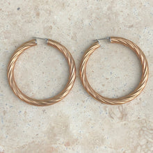 Load image into Gallery viewer, Rose Gold Immersed Stainless Steel Twist Hoop Earrings, Rose Gold Immersed Stainless Steel Twist Hoop Earrings - Legacy Saint Jewelry