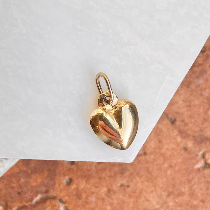 14KT Yellow Gold Small 3-D Heart Pendant Charm 14mm, 14KT Yellow Gold Small 3-D Heart Pendant Charm 14mm - Legacy Saint Jewelry