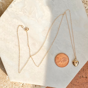 14KT Yellow Gold Small 3-D Heart Pendant Chain Necklace, 14KT Yellow Gold Small 3-D Heart Pendant Chain Necklace - Legacy Saint Jewelry