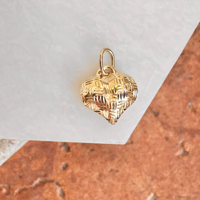 14KT Yellow Gold Basket Weave Pattern 3-D Heart Pendant Charm, 14KT Yellow Gold Basket Weave Pattern 3-D Heart Pendant Charm - Legacy Saint Jewelry