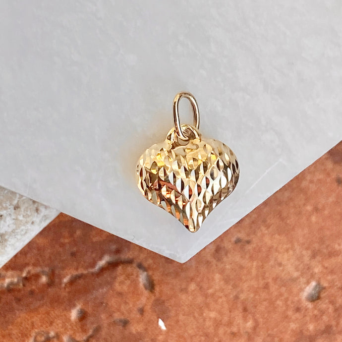 14KT Yellow Gold Textured Diamond-Cut 3-D Heart Pendant Charm, 14KT Yellow Gold Textured Diamond-Cut 3-D Heart Pendant Charm - Legacy Saint Jewelry