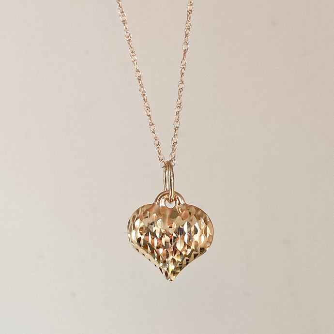 14KT Yellow Gold Textured Diamond-Cut 3-D Heart Pendant Chain Necklace, 14KT Yellow Gold Textured Diamond-Cut 3-D Heart Pendant Chain Necklace - Legacy Saint Jewelry