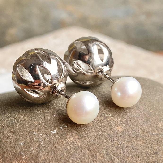 Sterling Silver Caged Ball + White Freshwater Pearl Double-Ended Stud Earrings, Sterling Silver Caged Ball + White Freshwater Pearl Double-Ended Stud Earrings - Legacy Saint Jewelry