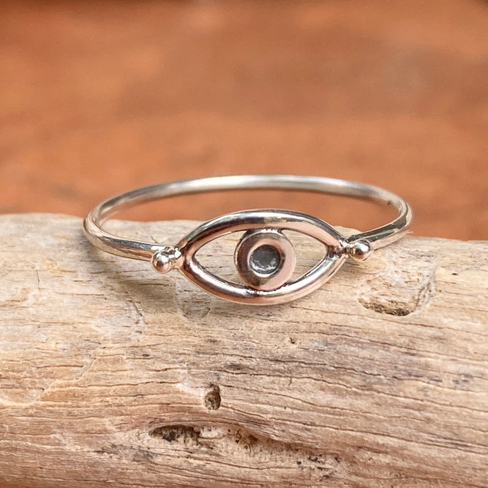 Sterling Silver Oxidized Evil Eye Thin Band Ring