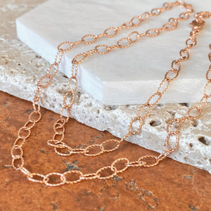 14KT Rose Gold Open Oval Link Chain Necklace 4.4mm, 14KT Rose Gold Open Oval Link Chain Necklace 4.4mm - Legacy Saint Jewelry