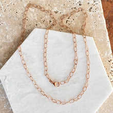 Load image into Gallery viewer, 14KT Rose Gold Open Oval Link Chain Necklace 4.4mm, 14KT Rose Gold Open Oval Link Chain Necklace 4.4mm - Legacy Saint Jewelry