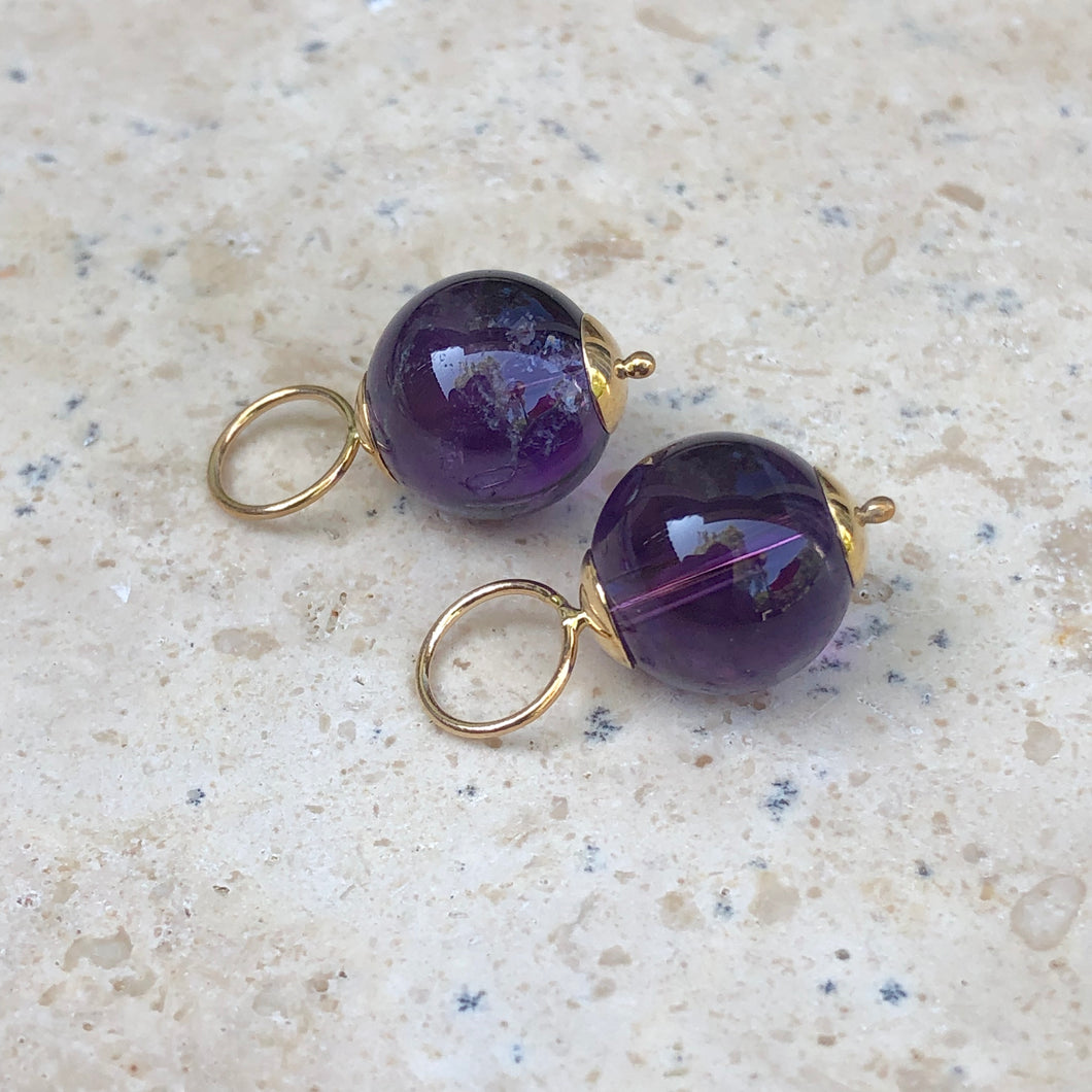 14KT Yellow Gold + Amethyst Ball Earring Charms, 14KT Yellow Gold + Amethyst Ball Earring Charms - Legacy Saint Jewelry
