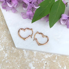Load image into Gallery viewer, 14KT Rose Gold Open Heart Hoop Earrings, 14KT Rose Gold Open Heart Hoop Earrings - Legacy Saint Jewelry
