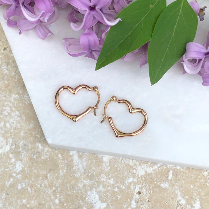 14KT Rose Gold Open Heart Hoop Earrings 16mm, 14KT Rose Gold Open Heart Hoop Earrings 16mm - Legacy Saint Jewelry