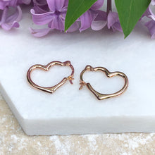 Load image into Gallery viewer, 14KT Rose Gold Open Heart Hoop Earrings 16mm - Legacy Saint Jewelry