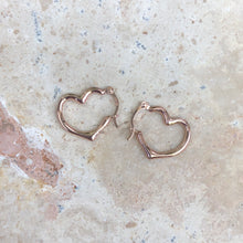 Load image into Gallery viewer, 14KT Rose Gold Open Heart Hoop Earrings 16mm, 14KT Rose Gold Open Heart Hoop Earrings 16mm - Legacy Saint Jewelry