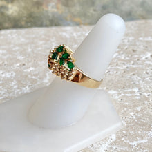 Load image into Gallery viewer, Estate 14KT Yellow Gold Colombian Emerald + Diamond Cocktail Ring, Estate 14KT Yellow Gold Colombian Emerald + Diamond Cocktail Ring - Legacy Saint Jewelry
