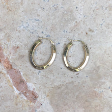 Load image into Gallery viewer, 10KT Yellow Gold Oval Beveled Hoop Earrings, 10KT Yellow Gold Oval Beveled Hoop Earrings - Legacy Saint Jewelry