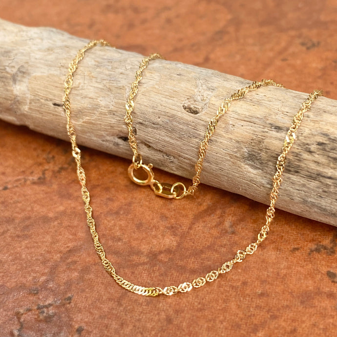 10KT Yellow Gold Singapore Link Anklet 1.1mm