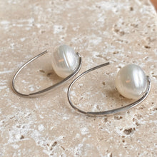 Load image into Gallery viewer, Sterling Silver + 12mm Paspaley South Sea Pearl Oval Hook Wire Earrings, Sterling Silver + 12mm Paspaley South Sea Pearl Oval Hook Wire Earrings - Legacy Saint Jewelry