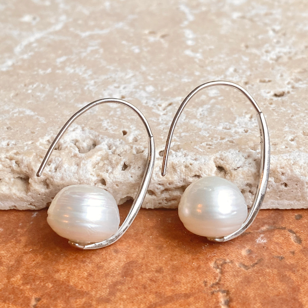 Sterling Silver + 12mm Paspaley South Sea Pearl Oval Hook Wire Earrings, Sterling Silver + 12mm Paspaley South Sea Pearl Oval Hook Wire Earrings - Legacy Saint Jewelry