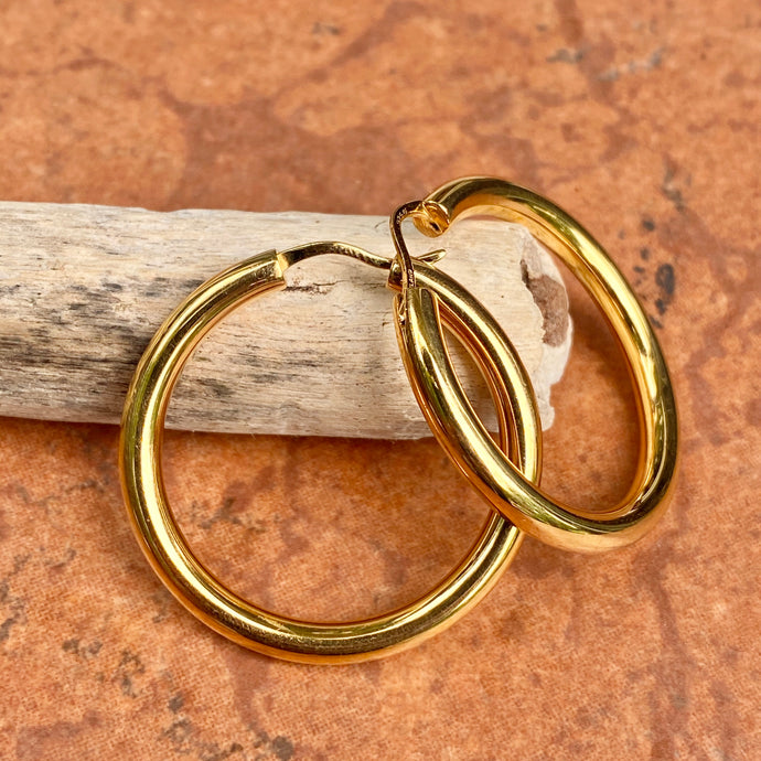 Gold-Plated Sterling Silver Tube Hoop Earrings 30mm