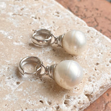 Load image into Gallery viewer, Sterling Silver Huggie Hoop with Paspaley Pearl Charm Earrings, Sterling Silver Huggie Hoop with Paspaley Pearl Charm Earrings - Legacy Saint Jewelry