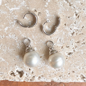 Sterling Silver Huggie Hoop with Paspaley Pearl Charm Earrings, Sterling Silver Huggie Hoop with Paspaley Pearl Charm Earrings - Legacy Saint Jewelry