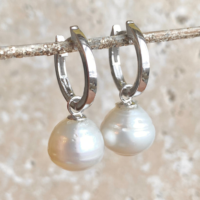 Sterling Silver Hoop with Paspaley Pearl Charm Earrings, Sterling Silver Hoop with Paspaley Pearl Charm Earrings - Legacy Saint Jewelry