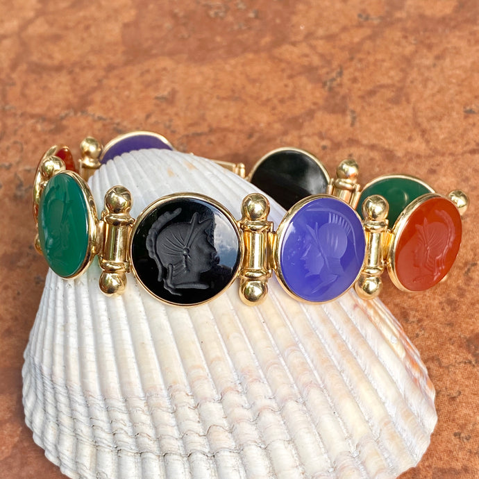Estate 14KT Yellow Gold Intaglio Carved Multi-Colored Onyx + Carnelian Gemstone Links Bracelet