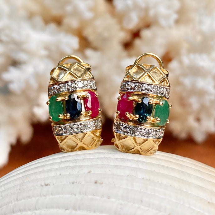 Estate 14KT Yellow Gold Pave Diamond + Ruby, Sapphire, Emerald Omega Back Earrings