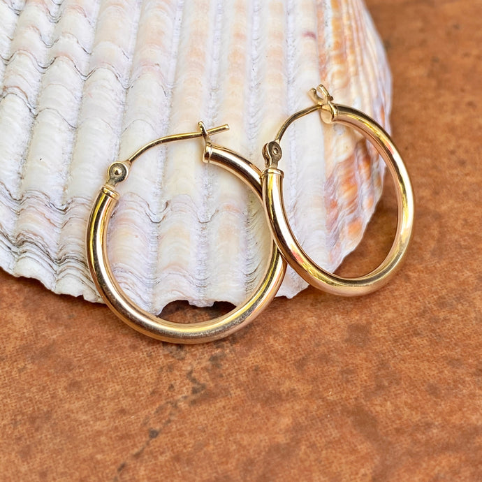 Estate 14KT Yellow Gold Polished 2mm Tube Hoop Earrings 20mm