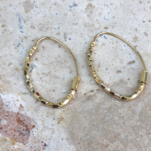 14KT Yellow Gold Threader Ear Wire Hoop Earrings, 14KT Yellow Gold Threader Ear Wire Hoop Earrings - Legacy Saint Jewelry
