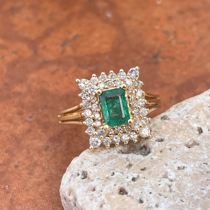 Estate 14KT Yellow Gold Emerald-Cut Emerald + Square Double Halo Diamond Ring