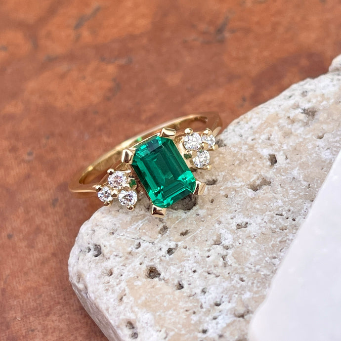 14KT Yellow Gold Lab Emerald-Cut Emerald + Round Diamond Accent Ring