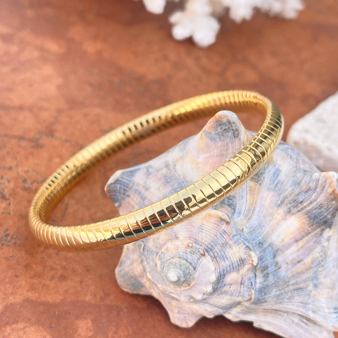 Gold Color Stainless Steel Ribbed Round Slip On Bangle Bracelet